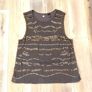 Buckle Tank with bead/sequin embellishments